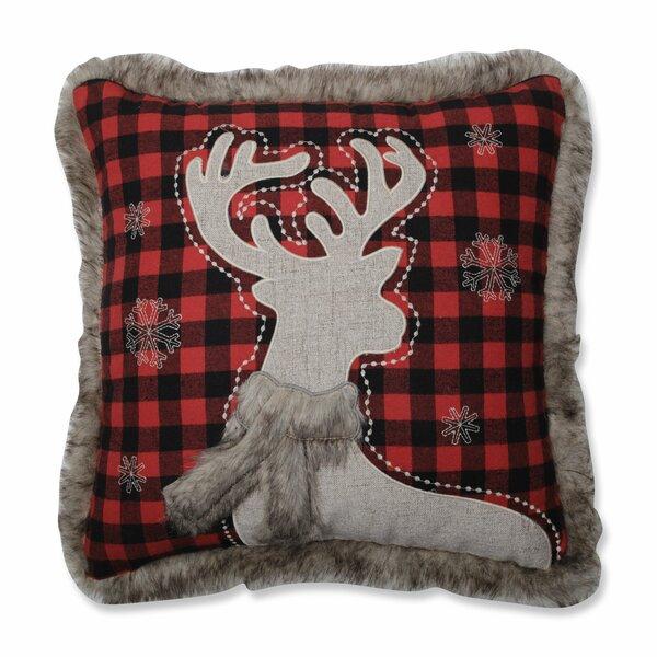 Esaw Fur Reindeer Throw Pillow by Loon Peak