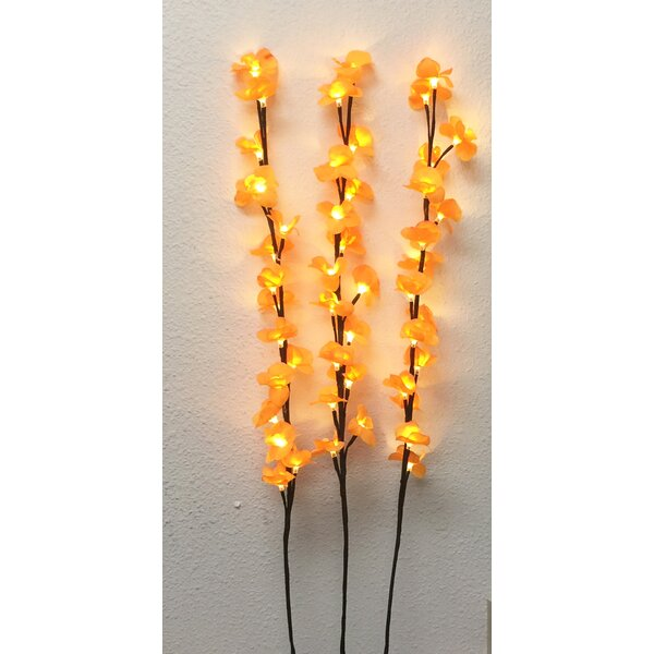 3 Piece 48 Light Branch Orchid Blossom Tree Light by Creative Motion