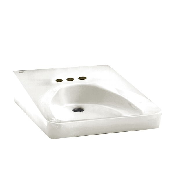 Ceramic 20 Wall Mount Bathroom Sink with Overflow