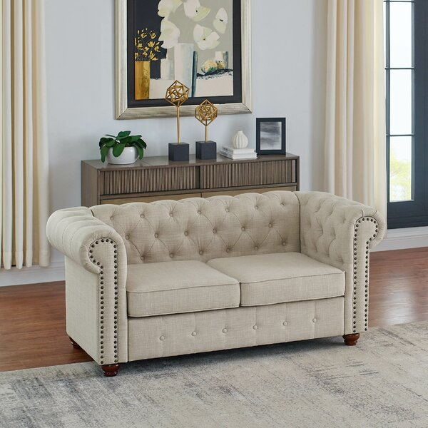 Lamoreaux Chesterfield 65'' Rolled Arm Loveseat By Alcott Hill