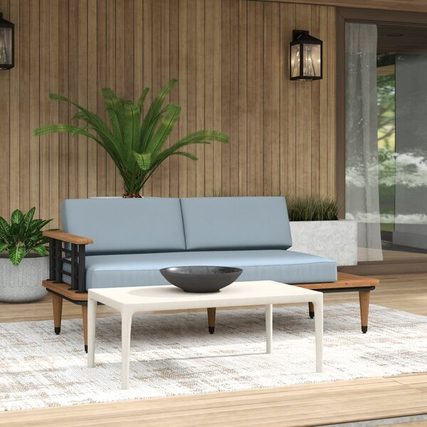 Clary Teak Lounge Patio Daybed with Cushion by Mercury Row