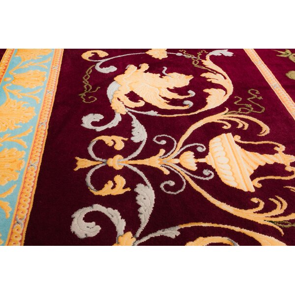 One-of-a-Kind Bourbon Hand-Knotted Wool Burgundy Area Rug by Astoria Grand