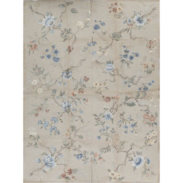 Fresco Floral Hand-Knotted Wool Gray/Blue Area Rug