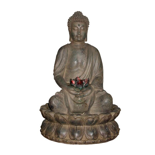 Polyresin Buddha Tabletop Fountain with Light by Woodland Imports