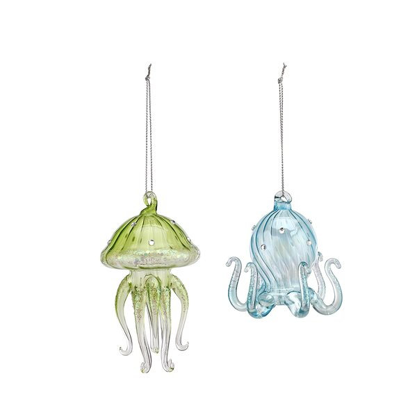 Ziemba 2 Piece Glass Jellyfish and Octopus Hanging Figurine Set by Rosecliff Heights
