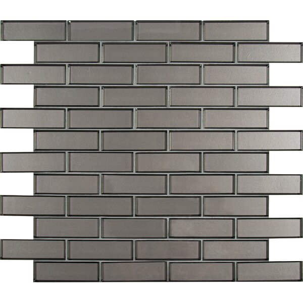 Champagne Bevel Mesh-Mounted Brick 2 x 6 Glass Subway/Mosaic Tile in Brown by MSI