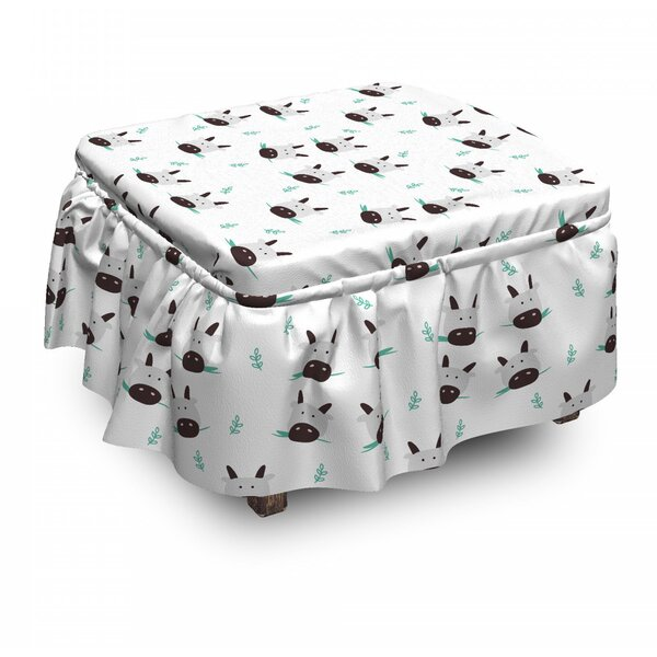 Cow Heads Chewing Grass Ottoman Slipcover (Set Of 2) By East Urban Home
