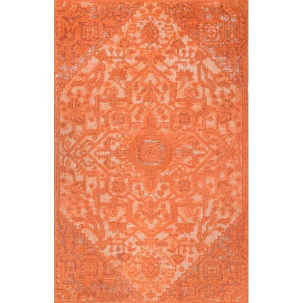 Chaput Hand-Woven Orange Area Rug By Bungalow Rose.