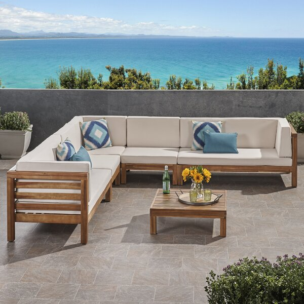 Zaina Outdoor 3 Piece Teak Sectional Seating Group with Cushions by Longshore Tides Longshore Tides