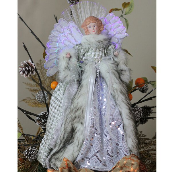 Angel Christmas Tree Topper in Gingham Coat by The Holiday Aisle