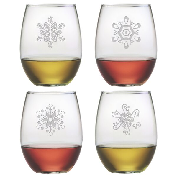 4 Piece Abstract Snowflake 21 Oz. Stemless Wine Gl