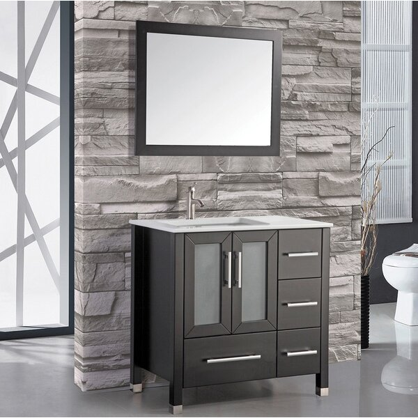 Nadeau Contemporary 36 Single Sink Bathroom Vanity Set with Mirror by Ivy Bronx