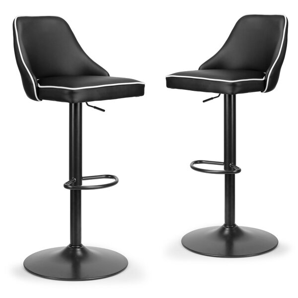 Dukes Adjustable Height Swivel Bar Stool (Set of 2) by Orren Ellis