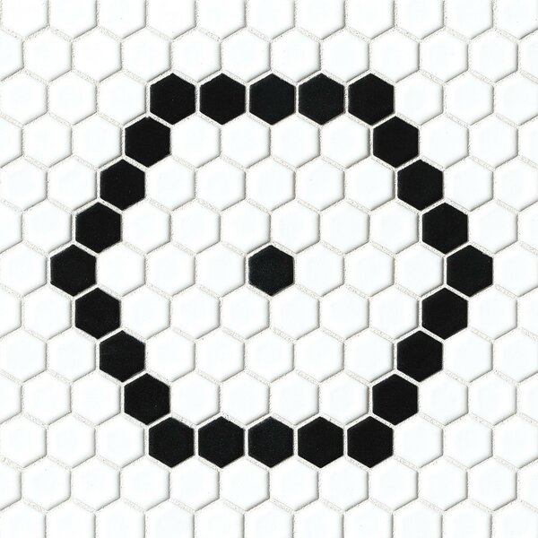 Hex 1 x 1 Porcelain Mosaic Tile in White/Black by Grayson Martin