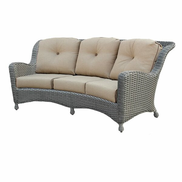 Adriel Crescent Patio Sofa with Sunbrella Cushions by Rosecliff Heights