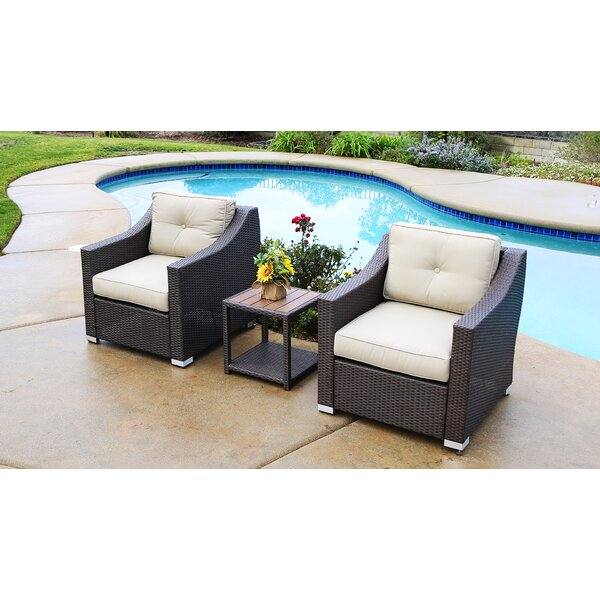 Leib 3 Piece Rattan Seating Group with Cushion by Latitude Run