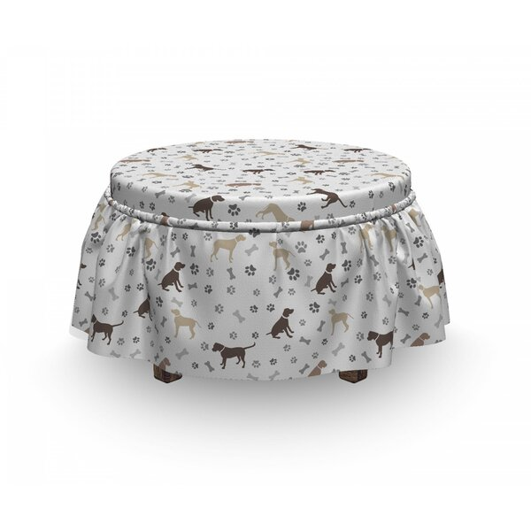 Dog Lover Paw Print And Bones 2 Piece Box Cushion Ottoman Slipcover Set By East Urban Home