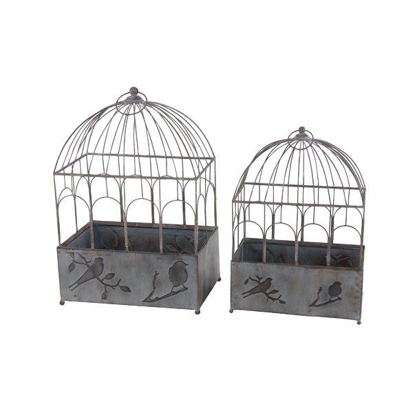 Stier Rustic Bird Cage 2-Piece Metal Planter Box Set by Winston Porter