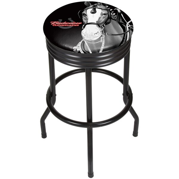 Budweiser Clydesdale Ribbed 28.5 Swivel Bar Stool by Trademark Global