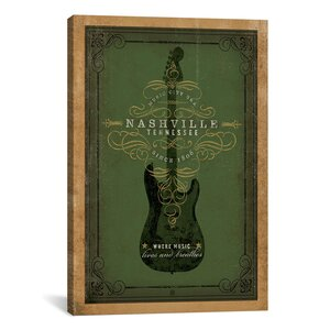 'Guitar, Nashville, Tennessee' Graphic Art on Canvas by Trent Austin Design