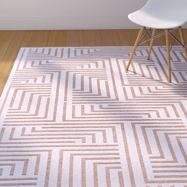 Drew White/Blush Area Rug by Corrigan Studio