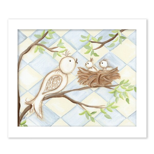 Birds Bunnies Birdie Diamond Giclee Framed Art by Doodlefish