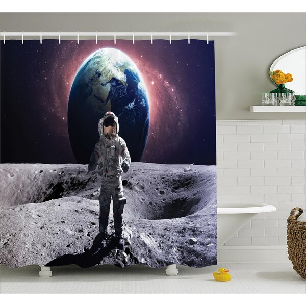 Space Brace Astronaut Cosmos Shower Curtain by East Urban Home
