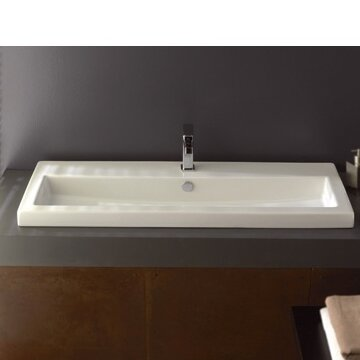 40 Ceramic 48 Wall Mount Bathroom Sink with Overflow by Ceramica Tecla by Nameeks