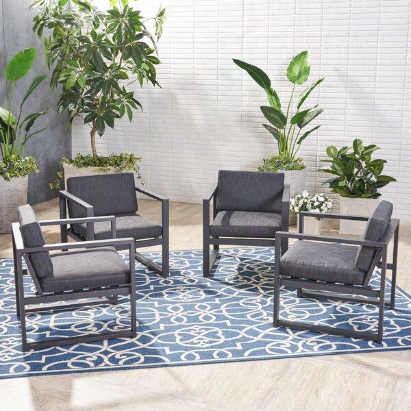 Mirando Patio Chair with Cushions (Set of 4) by Mercury Row