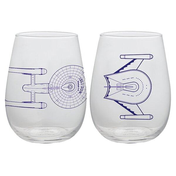 Star Trek 2 Piece 18 oz. Glass Assorted Glassware Set by Vandor LLC