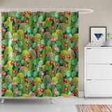 Spring Grove Nature Garden Flowers Cactus Texas Desert Botanic Various Plants With Spikes Pattern Single Shower Curtain by Ivy Bronx