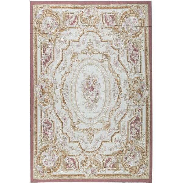 One-of-a-Kind Aubusson Renaissance Hand-Knotted Beige/Pink 11' x 16'1 Wool Area Rug