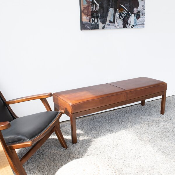 Guiterrez Wood Leather Bench by Union Rustic Union Rustic