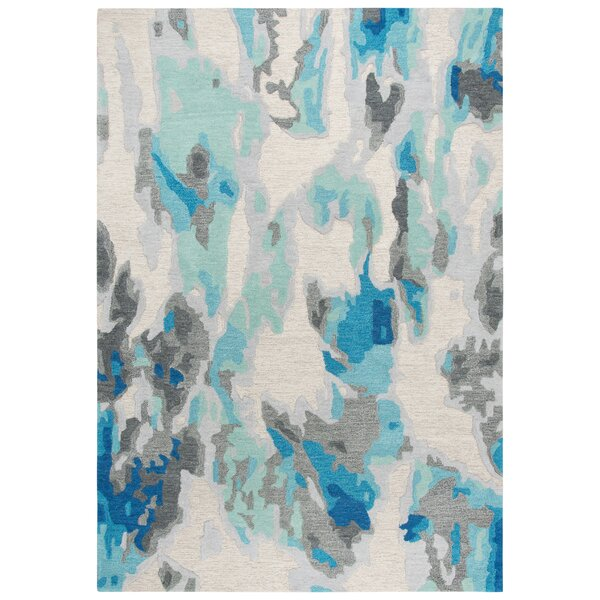 Prentice Hand-Tufted Wool Beige/Blue Area Rug by Ebern Designs