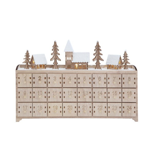Wood Advent Calendar with 24 Drawers & LED Light by The Holiday Aisle