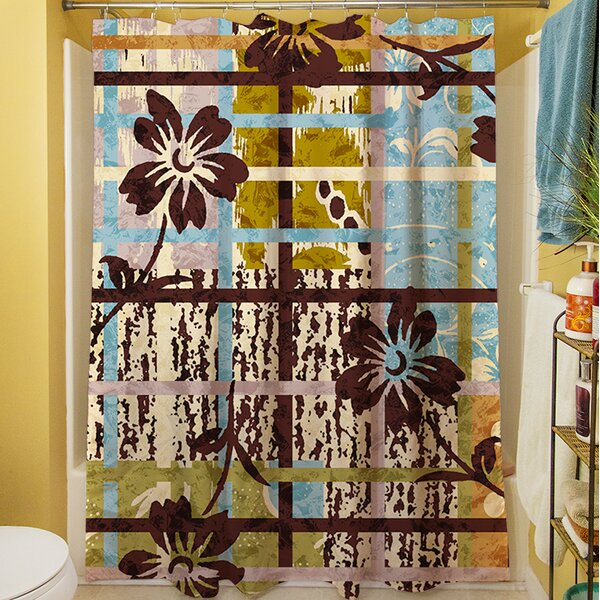 Floral Study in Plaid Shower Curtain by Manual Woodworkers & Weavers