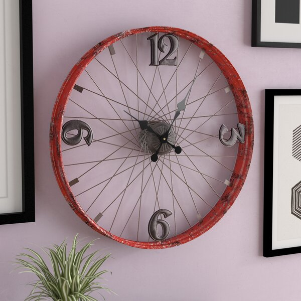 Red Bicycle Wheel Metal 24 Wall Clock by Brayden Studio