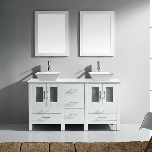 Rusch 60 Double Bathroom Vanity Set with Mirror by