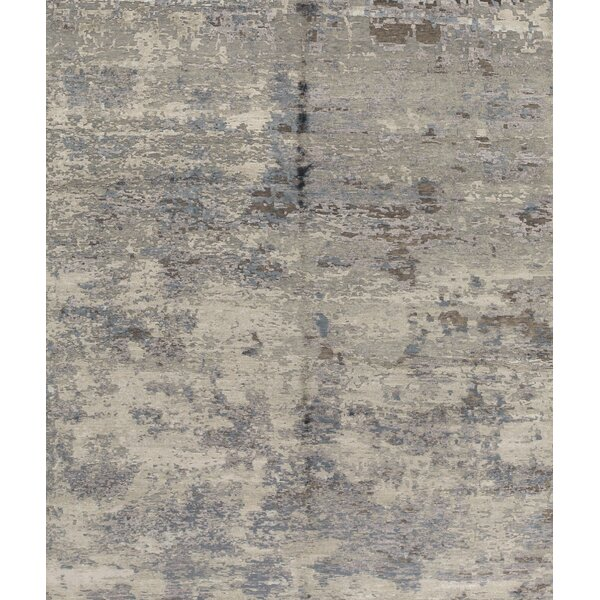 Hand-Knotted Wool Silver/Lilac Area Rug