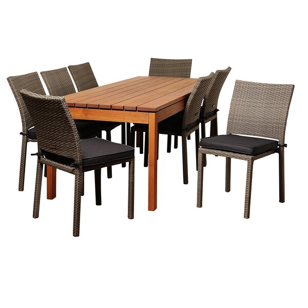 Orson International Home Outdoor 9 Piece Dining Set with Cushions by Longshore Tides