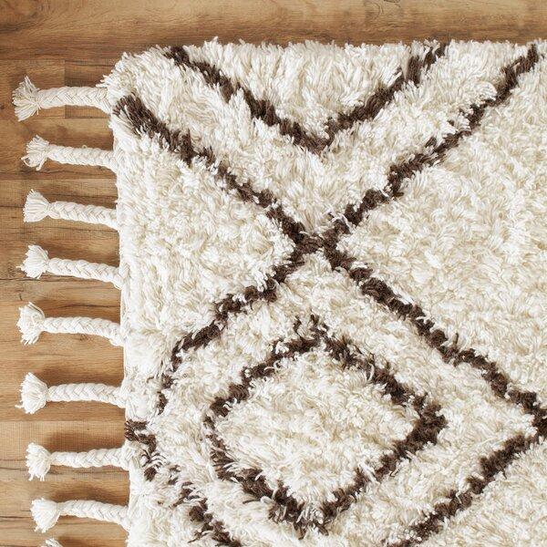 Royston Shag Hand-Woven Wool Cream Area Rug by Birch Lane™