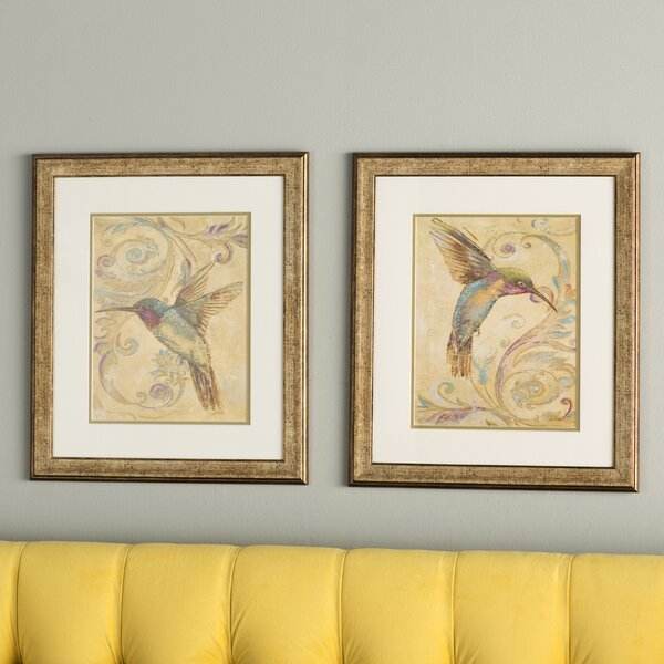 Hummingbird I / II 2 Piece Framed Painting Print Set by Three Posts