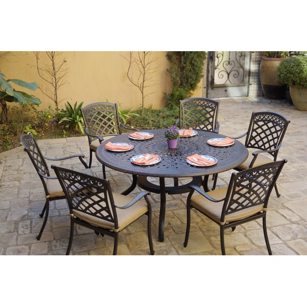 Chardon 7 Piece Dining Set with Cushions by Fleur De Lis Living