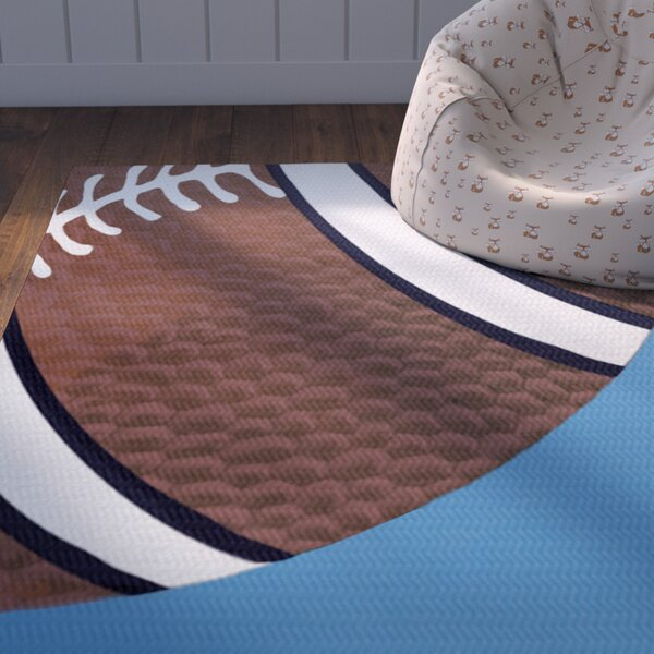Bauer Blue/Brown Area Rug by Zoomie Kids