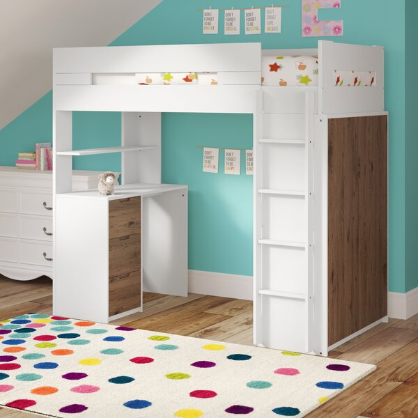 Abinash Twin Loft Bed with Drawers and Shelves by Mack & Milo