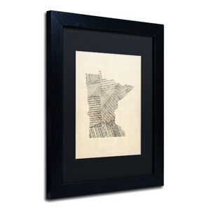 Old Sheet Music Map of Minnesota Framed Graphic Art by Red Barrel Studio