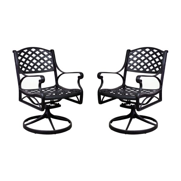 Amelio Swivel Patio Dining Chair (Set of 2) by Darby Home Co
