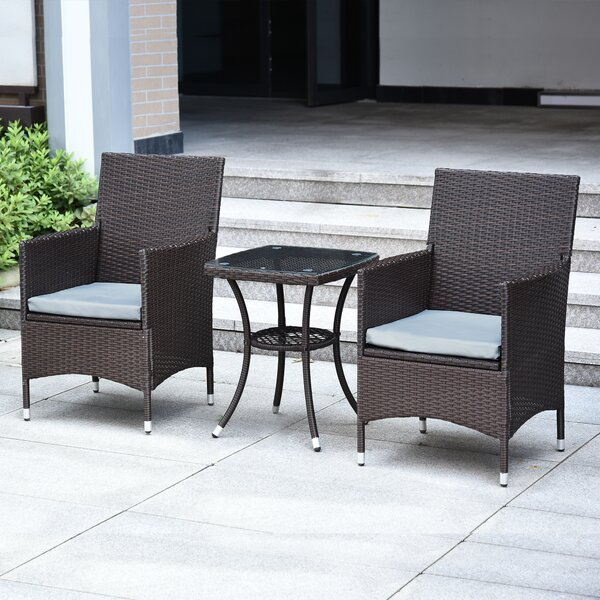 Caple Patio Furniture 3 Piece Seating Group with Cushions by Breakwater Bay Breakwater Bay