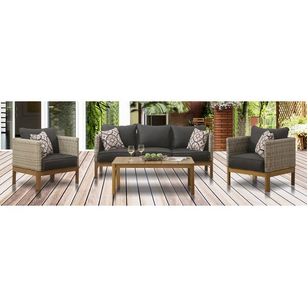 Issleib 4 Piece Rattan Sofa Seating Group with Cushions by Bayou Breeze