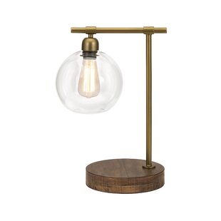 Inexpensive Coleridge Amplitude Glass and Wood 18 Table Lamp By Williston Forge